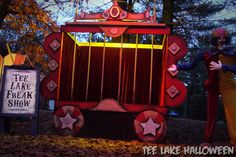 Tee Lake CarnEVIL 2012 - Drive Thru Haunt in Lewiston, MI | Flickr - Photo Sharing!  Bamboo and foam circus wagons? JJG
