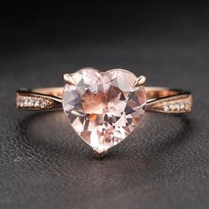 VS 9mm Heart Shaped Morganite Diamonds 14K Rose Gold Claw Prongs Engagement Ring