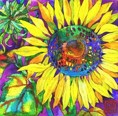 Sunflower on Purple - watercolor and pen by ©Sofia Perina Miller - www.sofiaperinamiller.com/Floral%20Prints%202.html