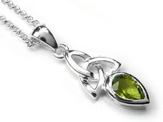 A lovely fresh pendant with a pretty faceted peridot stone. Sterling silver with a Celtic design supplied on a sterling silver belcher chain. Peridot is the birthstone for August symbolising strength and compassion. Peridot Stone, Celtic Designs, Birthstones, Sterling Silver Jewelry, Swarovski Crystals, Indigo, Chain, Pendant, Pretty