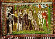 Mosaico de la Iglesia de San Vital de Rávena. Representa a la emperatriz Teodora rodeada de sus damas de compañía y miembros de la corte. Destaca la monumentalidad de su figura y el discutido contenido alegórico de la escena. (547 dC.)