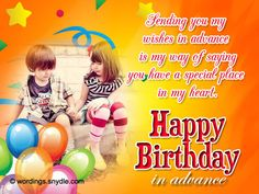 Advance Happy Birthday Wishes and Images Happy Birthday Messages Friend, Happy Birthday For Him, Happy Birthday Best Friend, Happy Birthday Quotes For Friends, Birthday Wishes And Images, Birthday Wishes Quotes, Advance Happy Birthday Wishes, Birthday Wishes For Brother, Wishes Messages