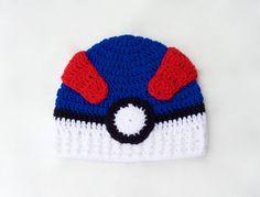 Pokemon hat - great ball hat - pokemon go hat - crochet pokeball hat - Pokeball… Crochet Bebe, Crochet Cross, Crochet For Boys, Diy Crochet, Crochet Ideas, Pokemon Hat, Pikachu Pokeball, Pokemon Crochet Pattern, Crochet Patterns