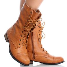Cognac Brown Round Toe Lace Up Combat Military Womens Flat Ankle Boots Size 9 | eBay