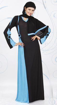 Tranquil Black And Sky Blue Color Designer Abaya