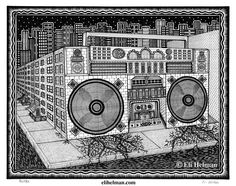 Boombox by Eli Helman, 8x10, Micron pen ink on paper