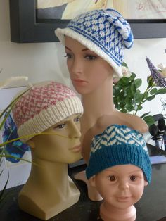 These are 3 new additions to our sales range on our #etsy shop: Fair Isle Style Blue and White Beanie Hat http://etsy.me/2D2BkOR #accessories #hat #blue #white #beanie #child #woman #man #small