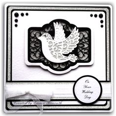Black, white and silver wedding card, sue wilson french provence dies, spellbinders dove