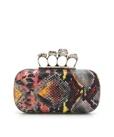 Always Edgy Snake Skin Knuckle Clutch - Red, Yellow, and Black