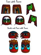 totem pole faces