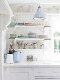 The open shelving in this shabby chic kitchen plays well with the style of the shaker cabinetry. Be sure to visit our board Shabby Chic Home for more of the same! French Kitchen, New Kitchen, Kitchen Decor, Kitchen Shelves, Kitchen White, Kitchen Ideas, Kitchen Interior, Kitchen Storage, Kitchen Country
