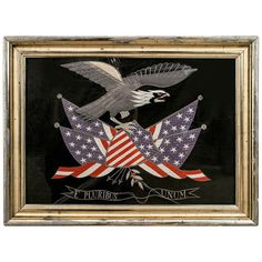 """American Cent) Federal style quilted silk embroidery of an eagle with astars-and-stripes shield and flags with the motto: """"e pluribus unum"""" in a gold frame. Eagle Tattoos, Embroidered Silk, Fourth Of July, Motto, Bald Eagle, American Flag, Folk Art, 19th Century, Red And White"""