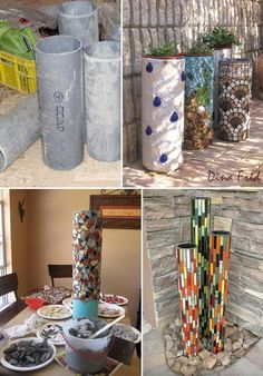 PVC pipes decorated with mosaic can become a stunning piece of garden art
