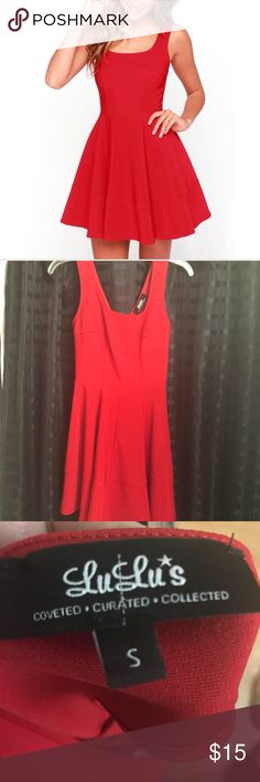 Lulu's red skater dress Lulu's red skater dress. Zips in the back and has a little bit of stretch. Perfect Valentine's Day dress! This dress has a 5 star rating on Lulu's and this dress will not disappoint! Only worn a few times and in great condition. Lulu's Dresses Mini