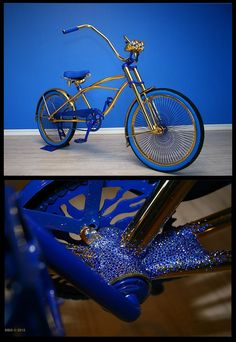 BonCadeau created this lavish lowrider bike. Gold gilded and embellished with 1,500 #Swarovski crystals with gold thread used for the seat