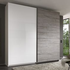 Jaxon Sliding Wardrobe In Glossy White With Grey And 2 Doors, this wardrobe offers a fantastic storage and a beautiful design to any modern bedroom. Made of Glossy White Lacquer With Grey. Bedroom Furniture Design, Bedroom Closet Design, Modern Bedroom Design, Grey Furniture, Bedroom Ideas, White Sliding Wardrobe, Sliding Door Wardrobe Designs, Wardrobes With Sliding Doors, Wall Wardrobe Design