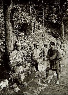 Bake-Jizo Trail. Nikko, Japan. Circa 1925. The Bake-jizo (Ghost Jizo) Legend says that if you count them on your way up the trail and on your way back, you will end up with a different number.