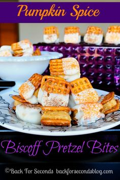 All the flavors of fall packed into a little package! Pumpkin Spice Biscoff Cheesecake Pretzel Bites are the perfect no bake treat for fall parties!