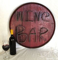 WINE BAR Authentic Wine Barrel Head  Sign by winecountrycraftsman, $75.00