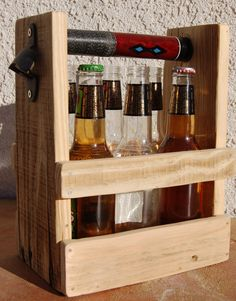 Beer or Soda Bottle Six Pack Holder With Bottle Opener; With Pool Cue Handle. by WoodCore on Etsy