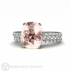 Platinum Cushion Morganite Engagement Ring & Wedding by RareEarth