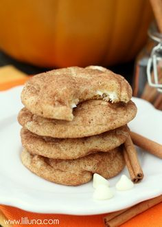 Soft and yummy White Chocolate Pumpkin Spice Snickerdoodles Recipe ~ a delicious combination of White Chocolate, Pumpkin and Cinnamon