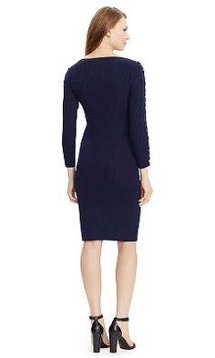 ce9206aa74763 Ribbed Lace-Up Sweater Dress - Lauren Petite Skirts & Dresses -  RalphLauren.com