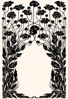 Art nouveau garden border Royalty Free Stock Vector Art Illustration... perfect for invites, table tents, etc.