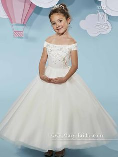 42f7086372b Off- shoulder tulle flower girl ball gown with beads and embroidery on  bodice