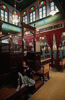 Man Reading Inside Synagoge La Ghriba Tunisia