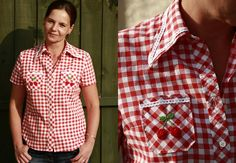 Add some exrtra decoration to your simple checkered shirt (white lace and crocheted cherries)