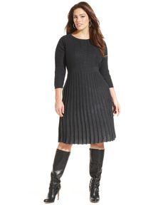 Calvin Klein Plus Size Pleated Sweater Dress - Plus Size Dresses - Plus Sizes - Macy's