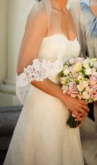 Monique Lhuillier 'Angelina' Ivory Lace Wedding Gown Front Close