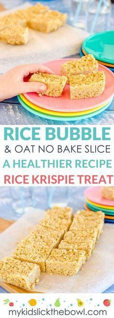 No Bake Rice Bubble Oat Slice. – No-bake rice bubble oat slice a healthy Rice Krispie treat recipe for kids – - Lombn Sites Healthy Rice Krispie Treats, Rice Krispy Treats Recipe, No Bake Treats, Baby Food Recipes, Gourmet Recipes, Baking Recipes, Snacks Recipes, Baking Snacks, Yummy Snacks