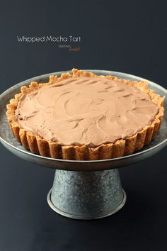 Whipped Mocha Mousse Tart with soft caramel and chocolate curls. Köstliche Desserts, Delicious Desserts, Dessert Recipes, Yummy Food, Tart Recipes, Sweet Recipes, Cooking Recipes, Healthy Recipes, Beignets