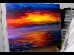▶ Leonid Afremov - Sample Lesson, colorful sunset painting - Level 1 , lesson 1 - YouTube
