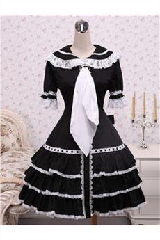 Algodón Negro volantes vestido lolita gótica