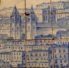 Tiles (detail), early 18th century. Lisbon before the earthquake of 1755, provenance ancient palace of the counts of Tentúgal in Lisbon, National Tile Museum, Lisbon.