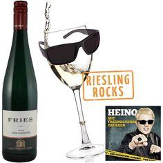 """Riesling Rocks 6 Flaschen Weißwein Weingut Fries Riesling """"vom Schiefer"""" trocken, Heino-CD und Poster Land / Region / Weingut Deutschland Mosel Weingut Fries Weißwein .trocken"""