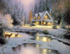 Thomas Kinkade deer creek cottage I painting for sale - Thomas Kinkade deer creek cottage I is handmade art reproduction; You can buy Thomas Kinkade deer creek cottage I painting on canvas or frame. Thomas Kinkade Art, Thomas Kinkade Christmas, Christmas Scenes, Christmas Art, Christmas Paintings, Cottage Christmas, Kinkade Paintings, Oil Paintings, Thomas Kincaid