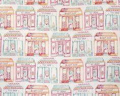 Kermesse Shops Fabric by Aldeco Happy Party, Fabric Wallpaper, Wonderland, Kids Shop, Toys, Sweet, Prints, Color, Shopping