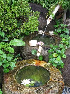 Unordinary Zen Water Fountain Ideas For Garden Landscaping 39 - Modern Japanese Water Feature, Japanese Water Gardens, Japanese Garden Plants, Diy Water Feature, Backyard Water Feature, Japanese Garden Design, Ponds Backyard, Diy Garden Fountains, Fountain Garden