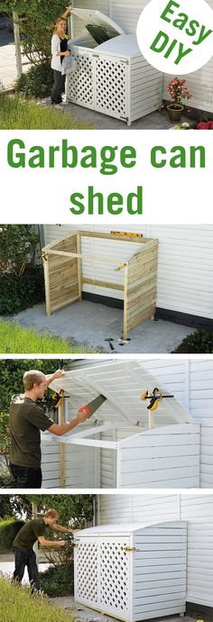 Garbage cans don't exactly fit into a beautiful garden. Keep them out of sight with this stylish garbage can shed!