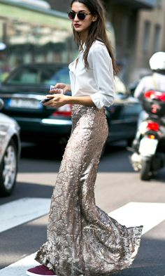 See All the Milan Fashion Week Street Style Fall 2015 | A white button-down blouse styled with a gold sequined maxi skirt and burgundy suede sneakers