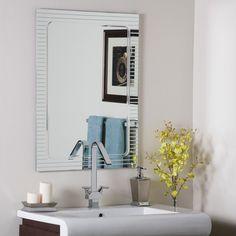 Frameless Bathroom Wall Mirror Hall Designer V Groove | eBay