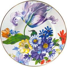 Shop Flower Market Dinner Plate from MacKenzie-Childs at Horchow, where you'll find new lower shipping on hundreds of home furnishings and gifts. Black Dinnerware, Casual Dinnerware, Mckenzie And Childs, White Dinner Plates, Flower Market, Home Living, Plate Sets, White Flowers, Decorative Accessories