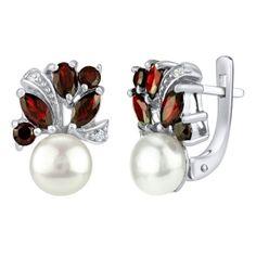 Stříbrné náušnice MARIANNE s přírodní perlou a pravým Granátem FNJE0434ga