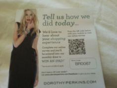 Dorothy Perkin's customer survey QR code. Landed here