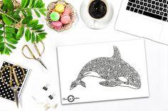 Mandala walvis dier walvis Mandala Whale Zentangle dieren