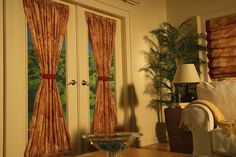 Rod Pocket Door Panel in HS Group 5 Fabrics. Perfect finishing touch to your decor. Custom door curtains are a must for those all glass doors. Pocket Doors, Rod Pocket, Bay Window Treatments, Residential Windows, Curtain Call, Drapery Panels, Door Curtains, Panel Doors, Glass Door